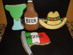 Cinco de Mayo Vanilla Sugar Cookies Are a Fab Fiesta Food | The cookies, made by Cera's Sweet Shop, come in the shape of a margarita, bottle of beer, sombrero and the Mexican flag. Each cookie is vibrantly decorated to give the cookies extra flair. - Foodista.com