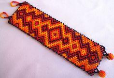 Mexican Huichol Beaded bracelet by Aramara on Etsy