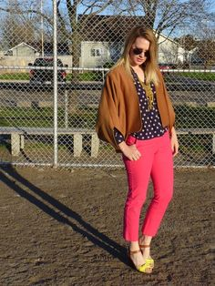 Bright jeans, polka dots, and yellow shoes