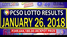 PCSO Lotto Results - January 26, 2018 | 6/58, 6/45, 4D, SWERTRES & EZ2 L... Lotto Results, January 2018, December 26, July 24, Youtube, Youtubers, Youtube Movies