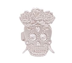 Sugar Skulls are inspired by the famous Day of the dead festival, No festival look is complete without a flower crown. Famous Day, Ring Home, Festival Looks, Flower Crown, Sugar Skull, Bronze, Jewels, Rings, Silver