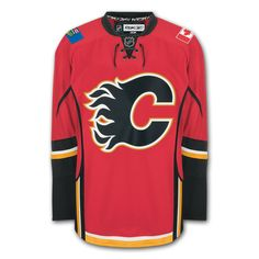 Calgary Flames Official Home Reebok EDGE Authentic NHL Hockey Jersey (Made In Canada)