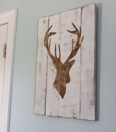White Distressed Silhouette Wood Sign - I'm pretty sure I can DIY this #Christmas #thanksgiving #Holiday #quote