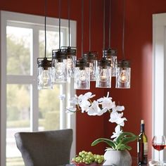Allen Roth Vallymede 7 In Olde Bronze Multi Pendant Light With Clear Gl