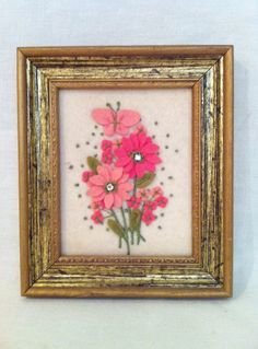 Vintage felt applique needlepoint pink green daisies by Comforte, $22.00