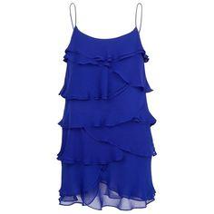 MANGO RUFFLED CHIFFON DRESS (1.295 UYU) ❤ liked on Polyvore featuring dresses, vestidos, tops, blue dresses, short dresses, ink, blue ruffle dress, chiffon cocktail dress, short blue dress and blue spaghetti strap dress