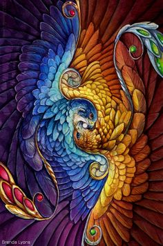 By Brenda Lyons Rotated Detail of Radiance Fantasy Falcon and Eagle Print