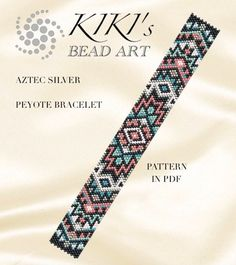 Peyote Pattern for bracelet Aztec silver peyote bracelet cuff Peyote Beading Patterns, Loom Bracelet Patterns, Seed Bead Patterns, Bead Loom Bracelets, Weaving Patterns, Loom Beading, Kilt Pattern, Bead Loom Designs, Loom Bracelets