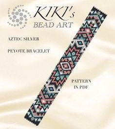 Peyote Pattern for bracelet Aztec silver peyote bracelet cuff Peyote Beading Patterns, Loom Bracelet Patterns, Bead Loom Bracelets, Bead Loom Patterns, Beaded Jewelry Patterns, Loom Beading, Cuff Bracelets, Loom Bracelets, Bead Earrings