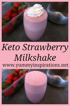 Keto Strawberry Milkshake Recipe – Easy Low Carb Sugar Free Drinks without ice cream and with frozen strawberries, almond milk and heavy cream.