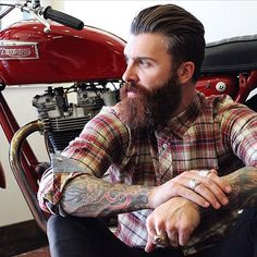 Levi Stocke - full thick dark red beard and mustache beards bearded man men mens' fall winter style clothing fashion triumph motorcycle motorcycles good hair hairstyles cut barber tattoos tattooed auburn redhead ginger #beardsforever