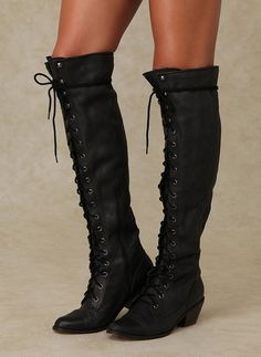 Black Round Toe Chunky Cross Strap Lace Up Casual Over-The-Knee Boho Boots Boots Boho, Casual Boots, Lace Up Boots, Gothic Boots, Stylish Boots, Dress Boots, Cowgirl Boots, Lace Dress, Thigh High Boots