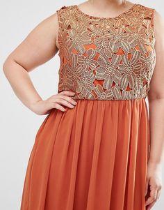 Изображение 3 из Платье макси с кружевным лифом цвета металлик ClubL Plus