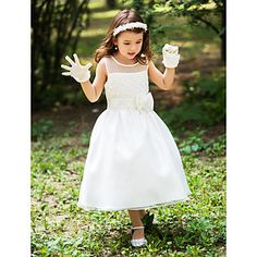 A-line Scoop Tea-length Silk Flower Girl Dress With Ribbons – USD $ 49.49