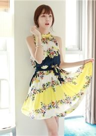 Spring Summer Romantic Bohemian Floral Stand Neck Straps Pleated Dresses Belt