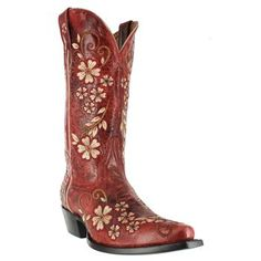 Every girl needs a pair of red boots - Shyanne® Women's Embroidered Clover Flower Western Boots