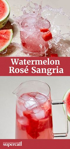 The sangria recipe combines two warm weather staples: sweet, juicy watermelon and rosé—it might be the best method ever devised to drink pink. Fruit Drinks, Smoothie Drinks, Wine Drinks, Yummy Drinks, Smoothies, Alcoholic Drinks, Beverages, Sweet Sangria Recipe, Sangria Recipes