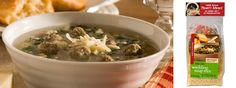 Tiny meatballs made with our whole grains seasoning and pastini make this favorite Italian wedding soup meal a treat. Wedding Soup, Italy Wedding, Frontier Soups, Soup Mixes, Pasta, Little Italy, Moisturizer For Dry Skin, Comfort Food, Grains