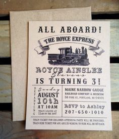 Birthday Invitation - VINTAGE Train Party - Custom - Boy - Girl - Recycled Kraft - Eco - DIGITAL Printable DIY on Etsy, $5.00