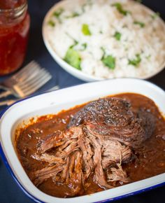 Caramelized Pulled Beef Brisket in a Rich Spicy Sauce. Recipe and photograph by The Kitchen Sanctuary.