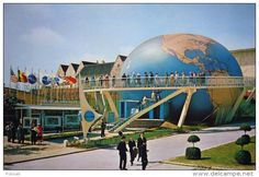 """I have just walked around the 'Pan American World' here at the Brussels Fair"" Postcard of Pan Am's inflatable map exhibit, showing Pan Am's global flight routes at the Brussels Worlds Fair in 1958, the first World's Fair to be held after World War Two"
