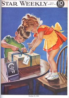 """The Star Weekly was a Canadian newsmagazine published by the Toronto Star. During the Second World War, a colour illustration with a wartime theme appeared on the cover each week. Here's an image from October 25, 1942, showing two kids preparing a Christmas parcel for """"Daddy."""" See my entire collection of Star Weekly covers on my Star Weekly board. For more: www.elinorflorence.com/blog/ww2-mail."""