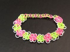 Rainbow loom - Pink and Green Butterfly Choker Necklace.  Super Cute !   By EmzDesignz :)