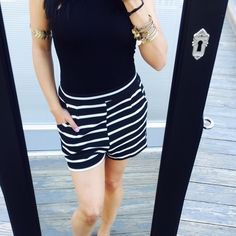 Black / White striped high waisted pocket shorts This listing is ready for purchase  Brand new without tags, stretchy textured fabric. Love the deep pockets and flattering high waist. Can fit a small and medium nicely  No Trades Shorts
