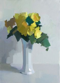 Yellow Begonias - Oil on canvas - 22 x 16 ins