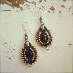 black onyx earrings macrame earrings large by yasminsjewelry