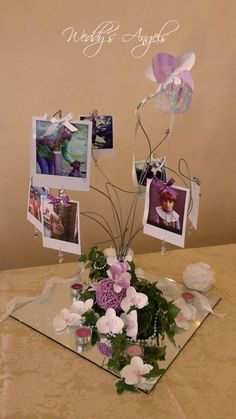 Compleanno 40 anni, centrotavola con  orchidee di carta , cristalli e foto#Birthday 40 years with orchid centerpiece of paper, glass and photos