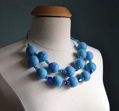 Wool beads necklace light blue necklace sky bluefelted by LSFelts