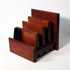 """""""Charging Station - CA Double Tech Bed - Square Slats - Cherry w/ """"Shaker Finish"""" - Universally Compatible - Phone, Tablet, Laptop """"  #TechTamerWoodworks #tech_tamer_woodworks #put_down_your_phone #pick_up_your_life #mindful_tech #JOMO #chargingstation #WoodChargingStation #wood_charging_station #chargingstation #docking_station #charging_valet #family_charging_station  #tech_bed #techbed Be Organized, Hardwood Lumber, 3 Phones, Minimal Living, Key Design, Docking Station, Protective Cases, Cherry, It Is Finished"""