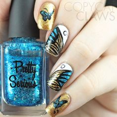 Copycat Claws: The Digit-al Dozen does Nature: Day 2 Butterfly Nail Stamping