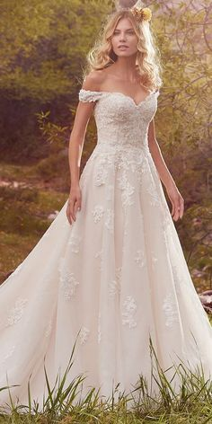 Stunning Tulle & Satin Off-the-shoulder Neckline A-Line Wedding Dresses With Beaded Lace Appliques