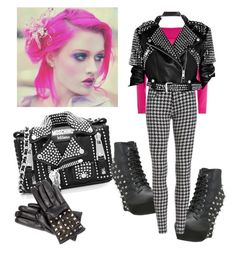 """Studs & Pink"" by sweetyincago ❤ liked on Polyvore featuring Moschino, Valentino, Bettie Page and Burberry"