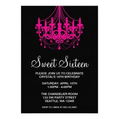 nice Pink and Black Birthday Invitations