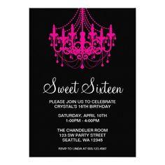 nice Pink and Black Birthday Invitations