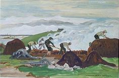 """""""Brûlage du goémon à Pors Reter, Ile de Batz"""", by Yvonne Jean Haffen #Finistère #myfinistere #Bretagne"""
