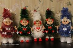Бонсай топиарий ёлка Новый год Шитьё Ёлочки Капрон Пенопласт Шпагат фото 1