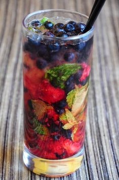 At first I didn't know what this is, but now I'm convinced it's water with a bunch of fruit and mint in it. Whatever, it looks good!
