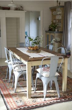 tolix chairs & farm table.