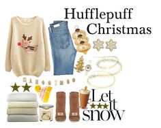 """""""Christmas - Hufflepuff"""" by harry-potter-girl ❤ liked on Polyvore featuring Cultural Intrigue, Yankee Candle, AG Adriano Goldschmied, Krochet Kids, Chicnova Fashion, Bethany Lowe, Peacock Alley, Argent and Sable and UGG Australia"""