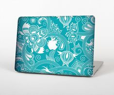 "The Turquoise Fancy White Floral Design Skin Set for the Apple MacBook Pro 15"" with Retina Display from Design Skinz"