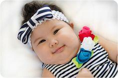 Girly Girl Nautical Stripe Infant Headband by PopGoesTheColor