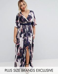 Buy Little Mistress Plus Printed Kimono Sleeve Maxi Dress at ASOS. With free delivery and return options (Ts&Cs apply), online shopping has never been so easy. Get the latest trends with ASOS now. Plus Size Kimono Dress, Big Size Dress, Maxi Dress With Sleeves, Lace Skirt, Maxi Outfits, Plus Size Maxi Dresses, Plus Size Outfits, Plus Size Dresses To Wear To A Wedding, Halter Dresses