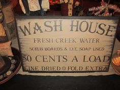 Wash House Sign Primitive Wooden Sign by RusticHavenSigns