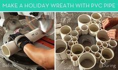 Make It: Holiday Wreath with PVC Pipe » Curbly | DIY Design Community.  If you've ever remodleled you have some of these!