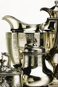 ) Both were reactionary movements, Art Nouveau against the staid traditionalism and revivalism of the late century and Art Deco against the curvaceous excesses of Art Nouveau. Art Nouveau, Silver Trays, Silver Plate, Vintage Silver, Antique Silver, Vibeke Design, Tea Service, Coffee Service, Art Deco Fashion