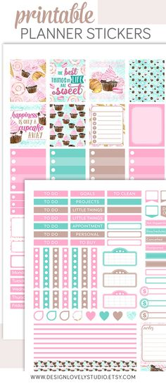 Mini Happy Planner Printable Cupcakes Weekly Stickers Kit - Design Lovely Studio #cupcakes #bakery #plannerstickers #printable #downloadable